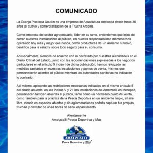 Comunicado de Amatzcalli Pesca Deportiva