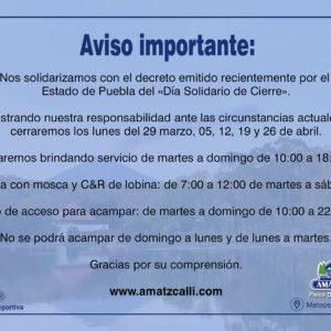 Aviso importante: Días de cierre en el mes de Abril
